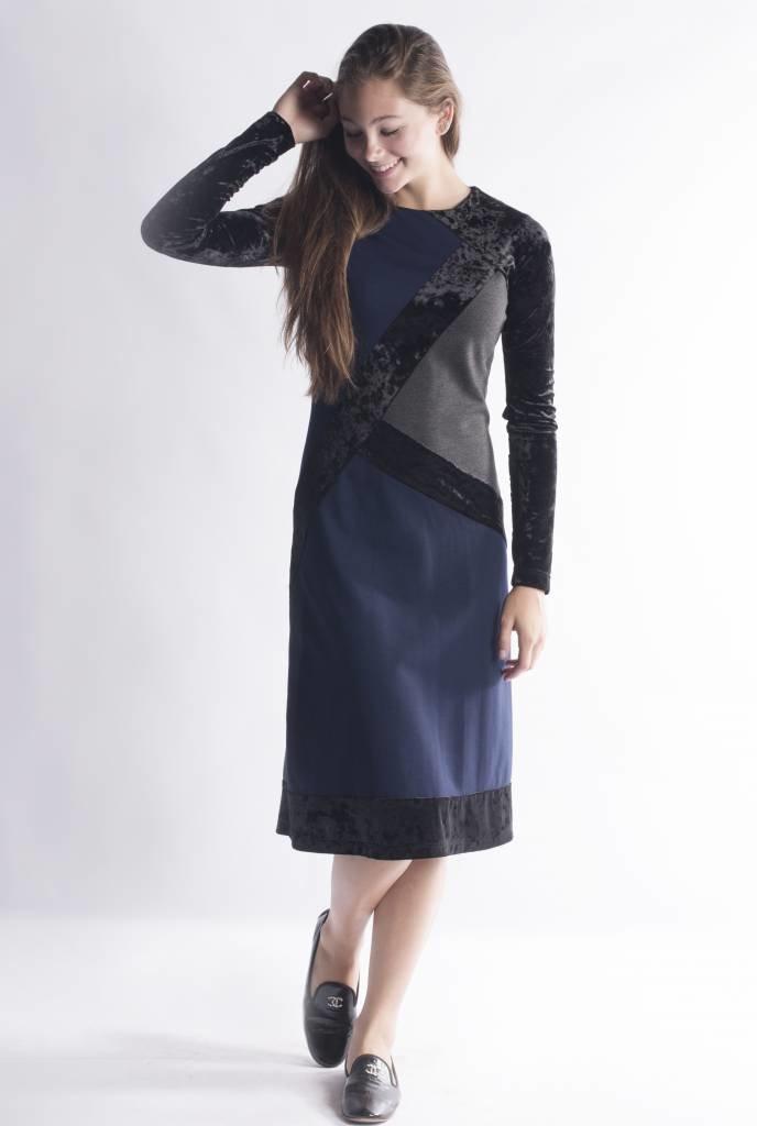 Ginger Velvet Sleeve Accent Dress