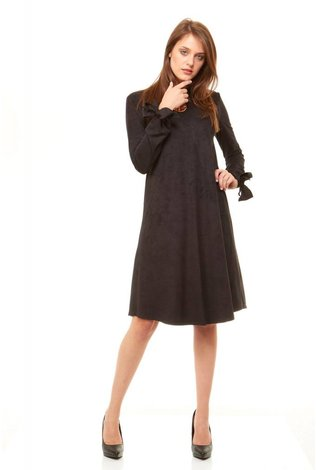 Bella Donna Bow Sleeve Suede Dress