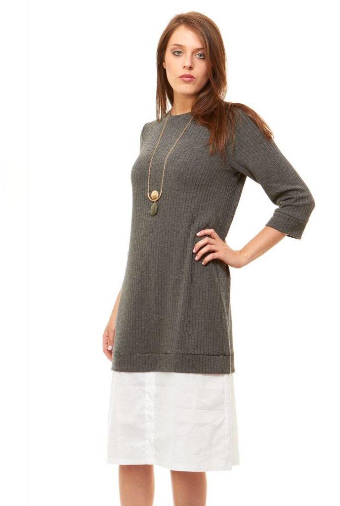 Bella Donna Ribbed Shirt Hem Dress