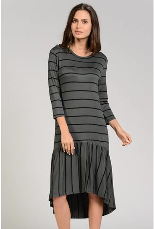 Sheek Stripe Bottom Ruffle Dress
