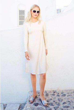 Pashmina Pashmina Swing Dress with Side Pleat Winter White