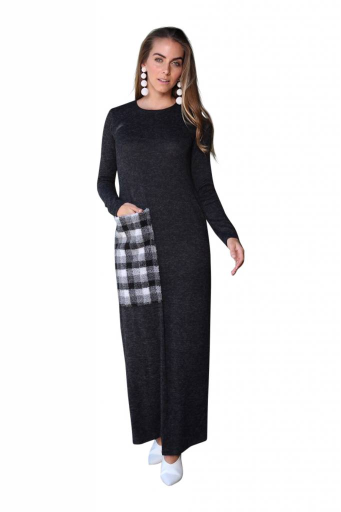 Go Couture Single Fur Pocket Maxi