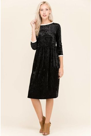 Sheek Crushed Velvet Lace Detail Dress
