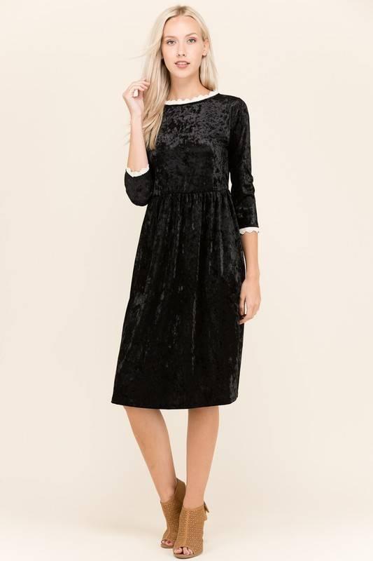 Sheek Crushed Velvet Lace Detail Dress