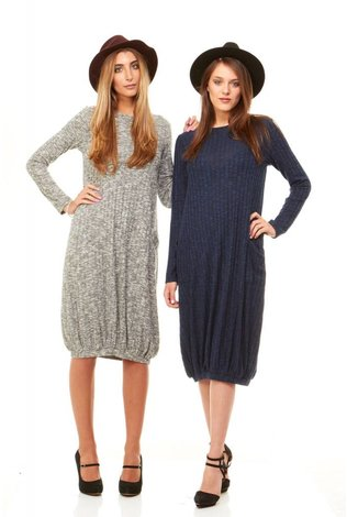 Bella Donna Ribbed Knit Bubble Dress