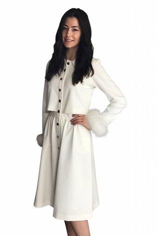 touch Button Dress With Fur Cuffs