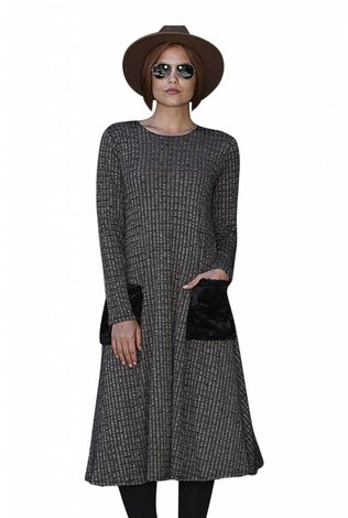 Go Couture Stone Ribbed fur Pocket Dress
