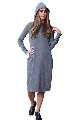 Go Couture Black and Gray Hoodie Dress