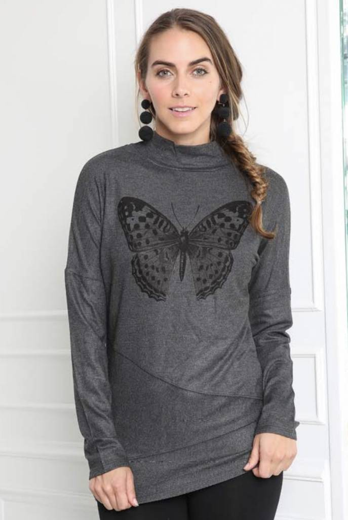 Go Couture Digital Butterfly Turtleneck