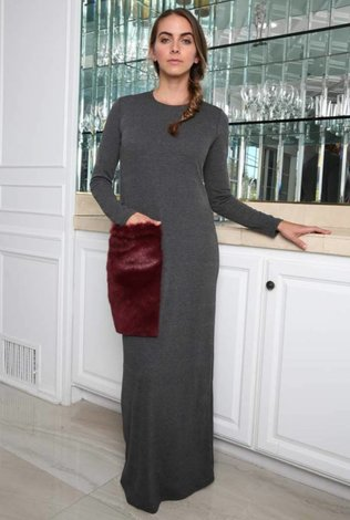 Go Couture Go Couture Ribbed Maxi with Fur Pocket