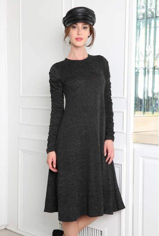Go Couture Rouched Sleeve Dress