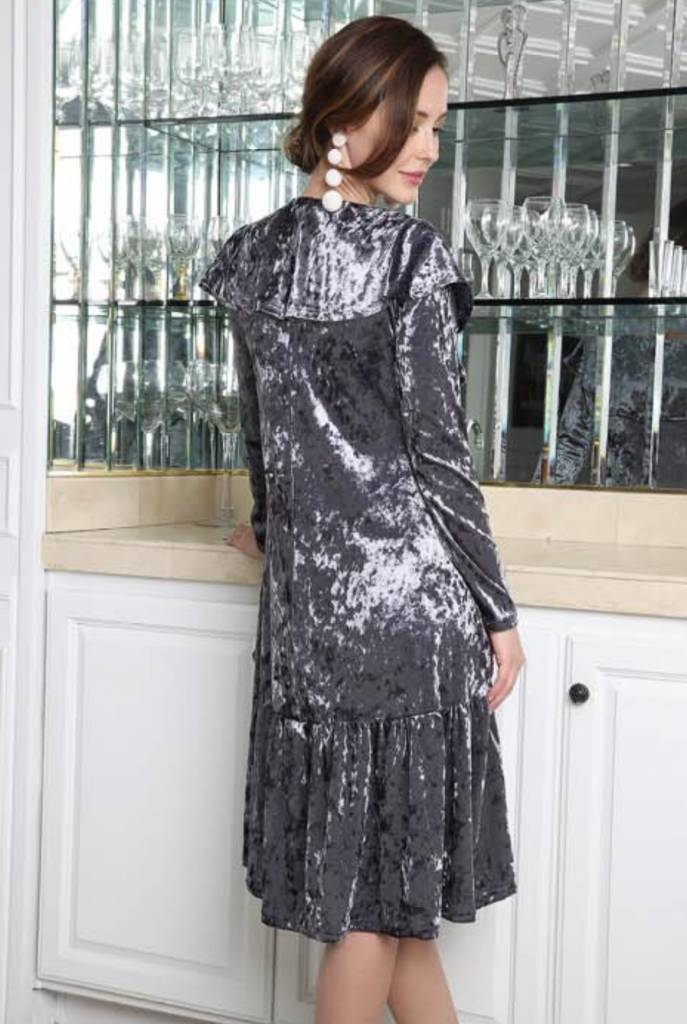 Go Couture Crushed Velvet Cape Dress