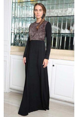 Go Couture Pewter Fur Maxi