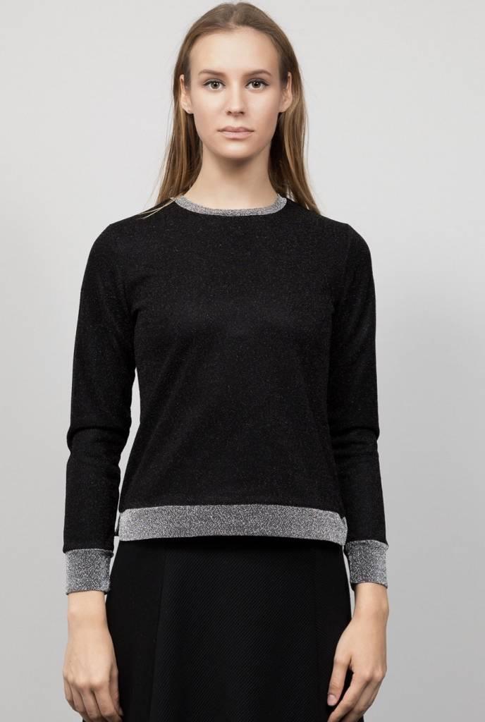 Bianco Nero Metallic Cuff Top