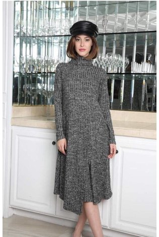 Go Couture Ribbed Sweater Turtlneck Dress