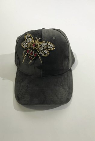 Grey Velvet Bee Cap