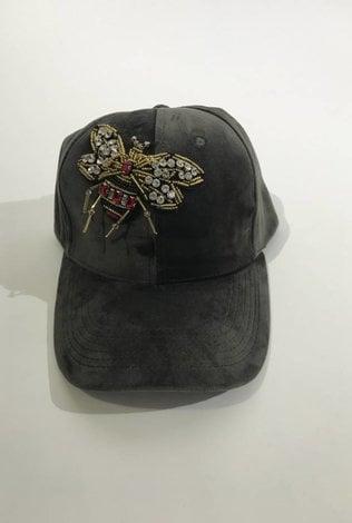Grey Velvet Bee Cap
