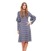 Bella Donna Vintage Print Ruffle Sleeve Dress