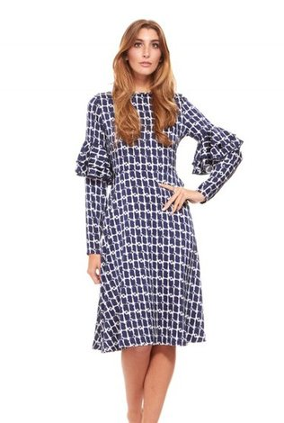 Bella Donna Vintage Print Ruffle Sleeve Dress