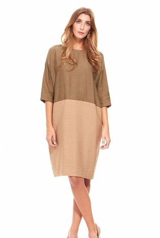 Colorblock Cocoon Dress Olive