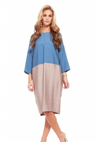 Colorblock Cocoon Dress Teal