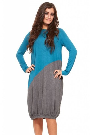 Asymetrical Colorblock Dress Teal
