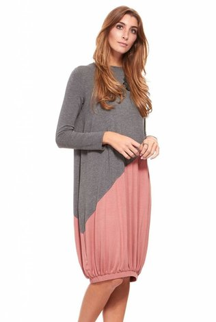 Asymetrical Colorblock Dress Mauve