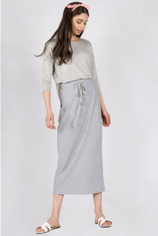 space Rib Midi Skirt With Tye- Gray