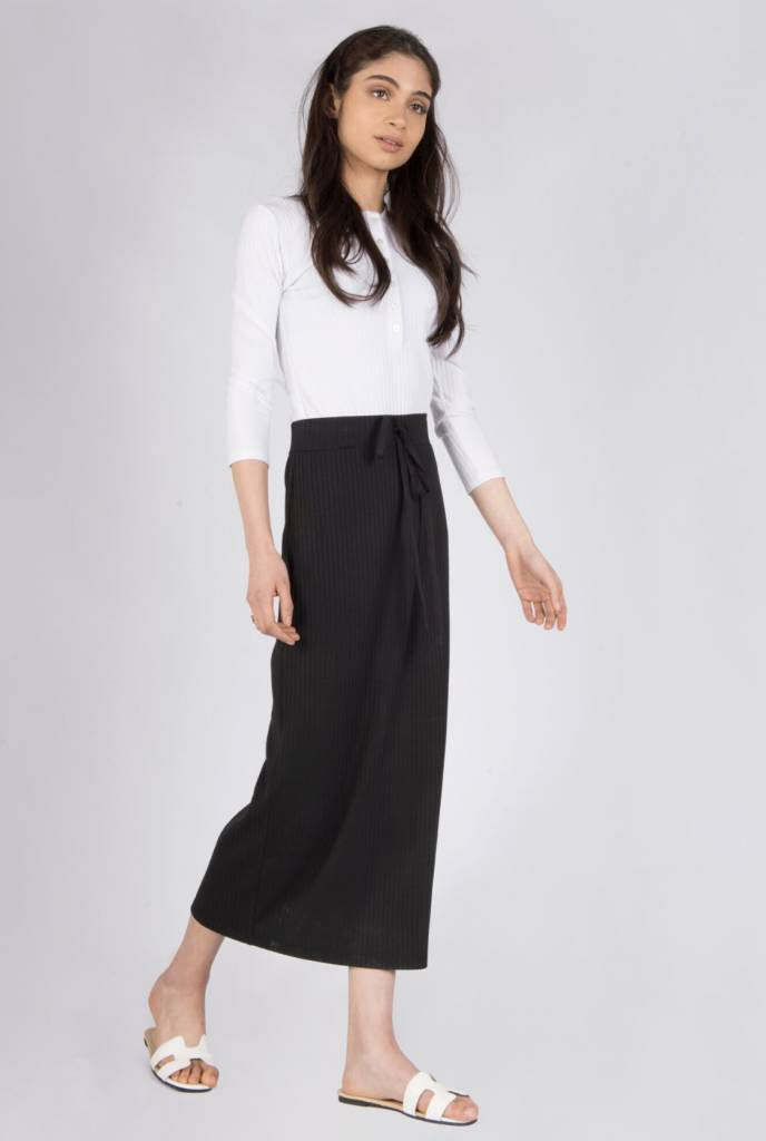 space Rib Midi Skirt With Tye