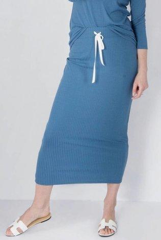 space Rib Midi Skirt With Tye- Cobalt