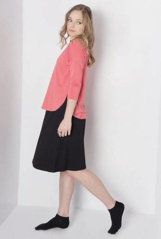space Rounded Hem Drop Sleeve Tee- Coral