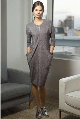 Apparalel Draped Jersey Dress- Gray Sparkle