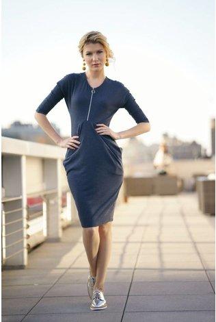 Apparalel Draped Jersey Dress- Heather Navy