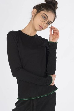 space Ruffle Hem Tee- Black/Green