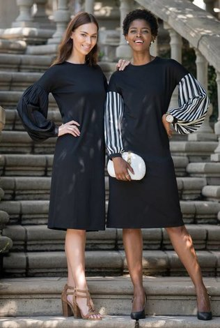 Ricciel Black and White Pleated Sleeve Dress