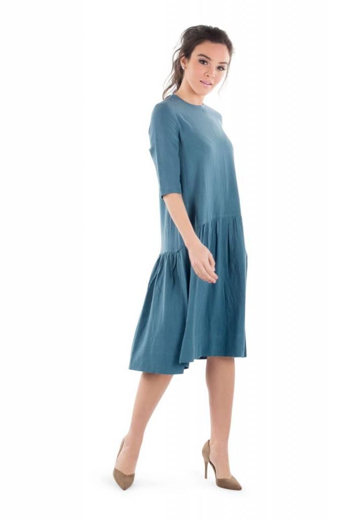 Deela Teal Linen Dress