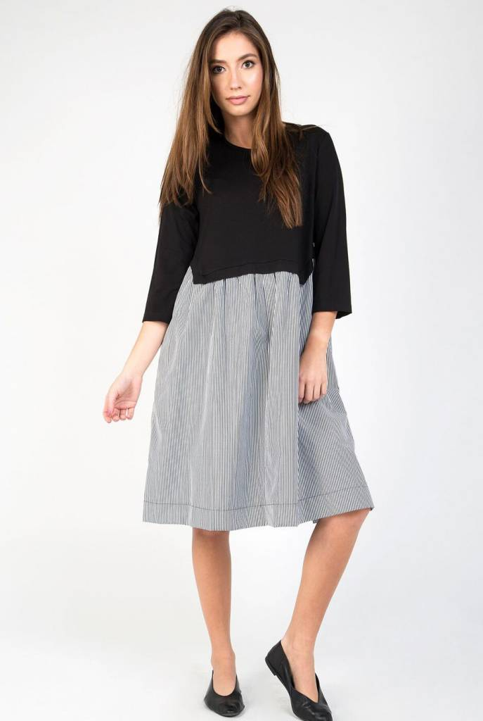 Static Stripe Bottom Swing Dress
