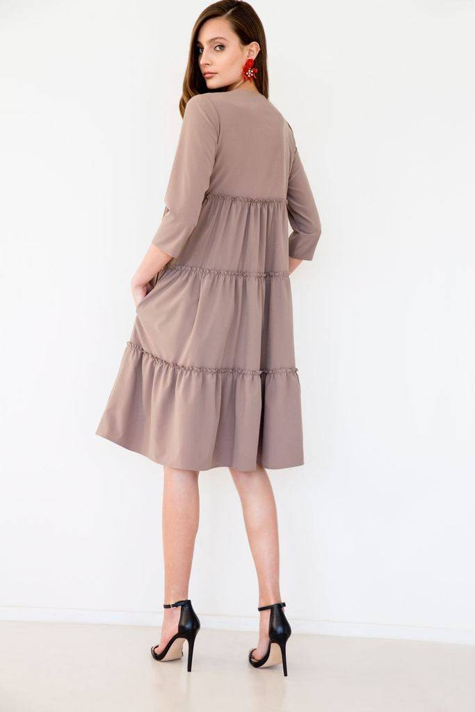 Third Taupe Tiered Dress