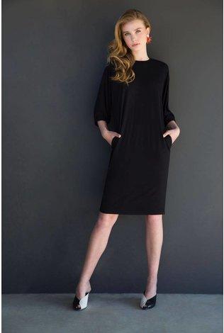Third Dress With Elastic Sleeve- Black