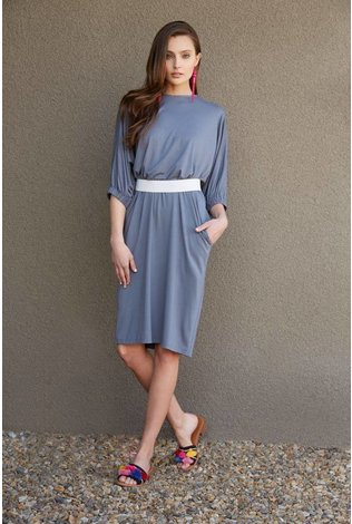 Third Dress with Elastic Sleeve - Steel
