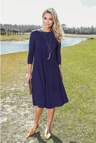 Pashmina Navy Classic Swing Dress