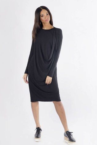 K2 Squared Black Drape Dress