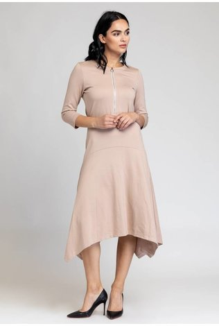 Bliss Zip Asymmetrical Dress Beige