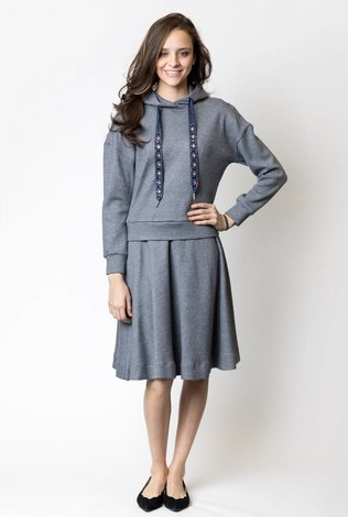 The Lines In Between Jewell Embellished Sweatshirt Set