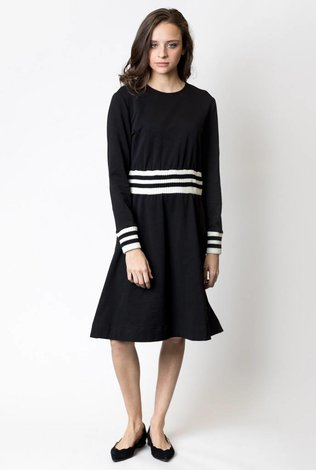 Harper Striped Ribbed Knit Waistband and Cuffs Dress