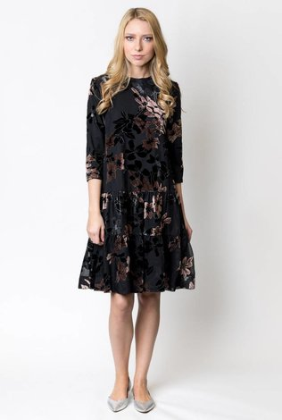 The Lines In Between Velvet Lily Print Dress