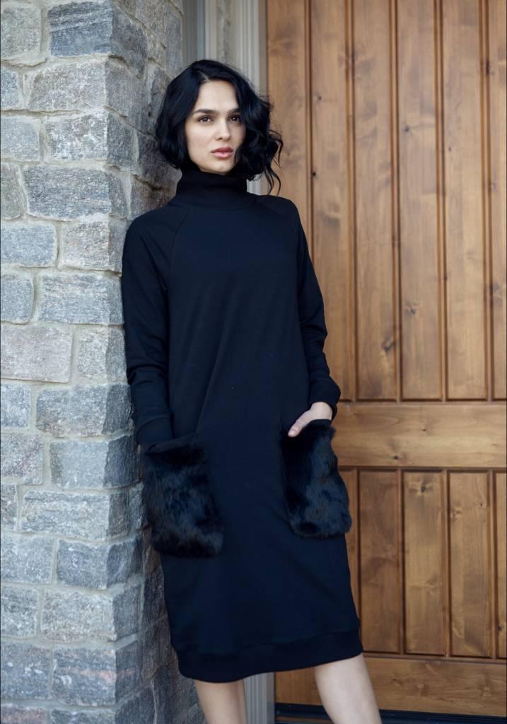 Ermanna Fur Pocket Turtleneck Dress
