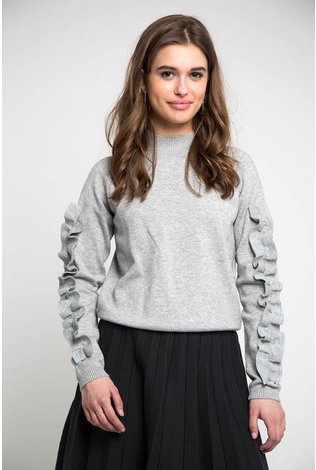 Static Knit Ruffle Sleeve Top