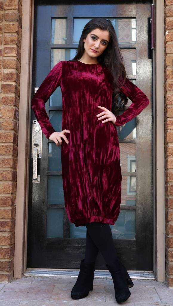 Bella Donna Crushed Velvet Bubble Dress