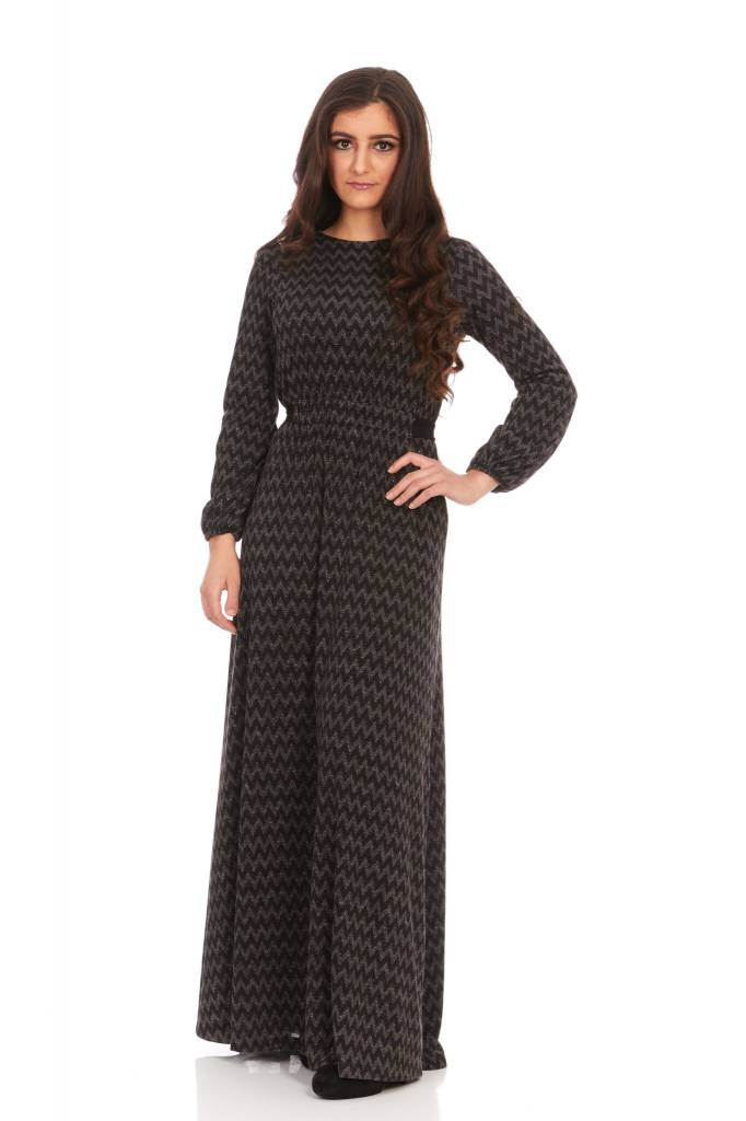 Bella Donna Chevron Shimmer Maxi Dress